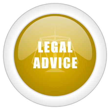 advisor: legal advice icon, golden round glossy button, web and mobile app design illustration