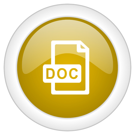 docs: doc file icon, golden round glossy button, web and mobile app design illustration