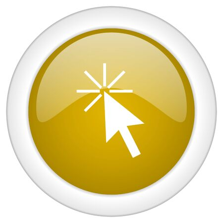 click here: click here icon, golden round glossy button, web and mobile app design illustration
