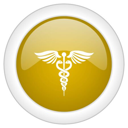 care symbol: emergency icon, golden round glossy button, web and mobile app design illustration