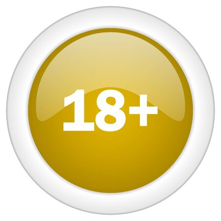 adult only: adults icon, golden round glossy button, web and mobile app design illustration