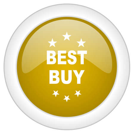 best buy: best buy icon, golden round glossy button, web and mobile app design illustration Stock Photo