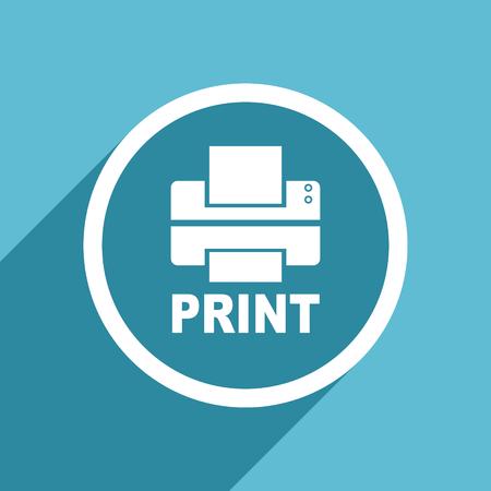 printer icon: printer icon, flat design blue icon, web and mobile app design illustration Stock Photo