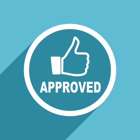 approved icon: approved icon, flat design blue icon, web and mobile app design illustration