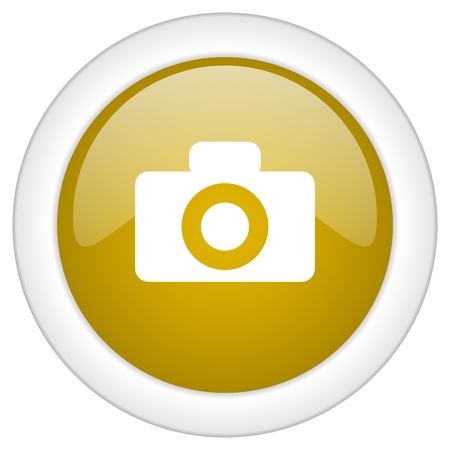 picto: camera icon, golden round glossy button, web and mobile app design illustration