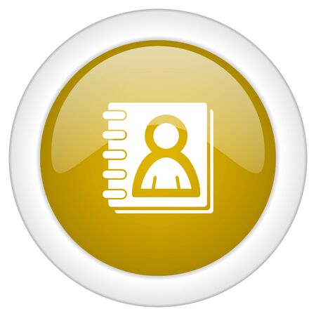 web address: address book icon, golden round glossy button, web and mobile app design illustration
