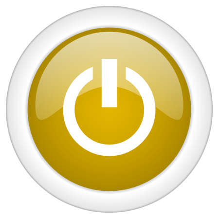 running off: power icon, golden round glossy button, web and mobile app design illustration