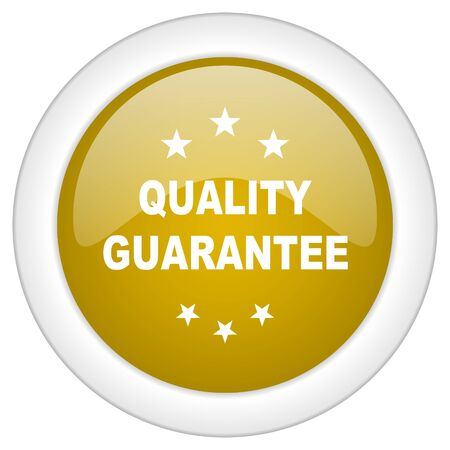 advantages: quality guarantee icon, golden round glossy button, web and mobile app design illustration