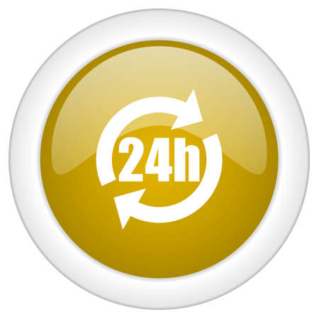 24h: 24h icon, golden round glossy button, web and mobile app design illustration