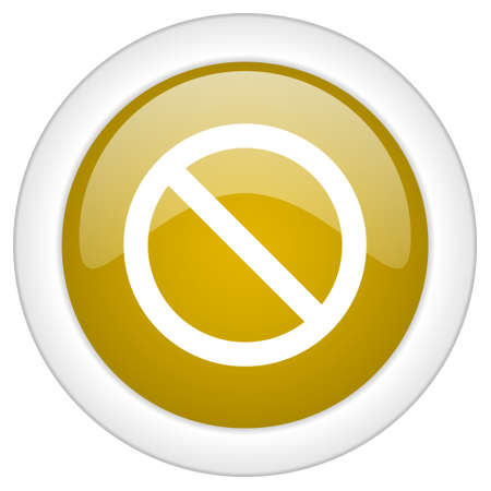 access denied icon: access denied icon, golden round glossy button, web and mobile app design illustration Stock Photo