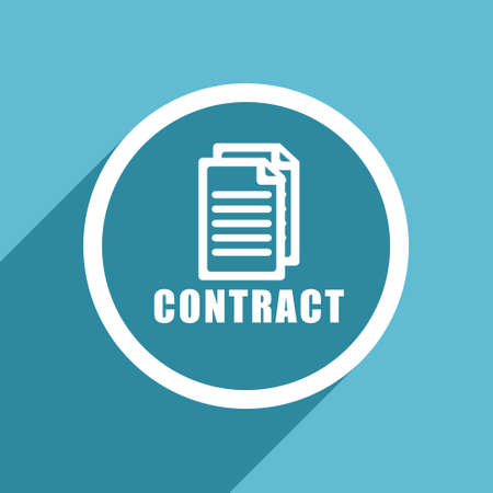 icom: contract icon, flat design blue icon, web and mobile app design illustration Stock Photo