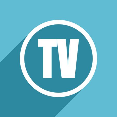 programm: tv icon, flat design blue icon, web and mobile app design illustration Stock Photo