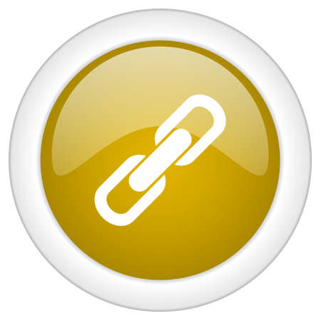 cohesion: link icon, golden round glossy button, web and mobile app design illustration