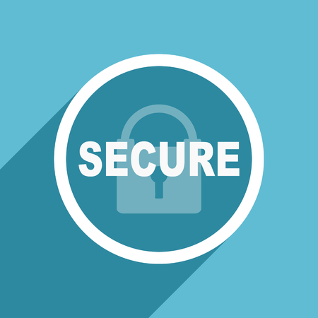secure icon: secure icon, flat design blue icon, web and mobile app design illustration