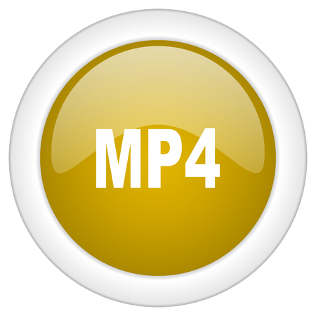 mp4: mp4 icon, golden round glossy button, web and mobile app design illustration Stock Photo
