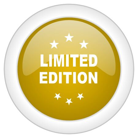 limited edition: limited edition icon, golden round glossy button, web and mobile app design illustration Stock Photo