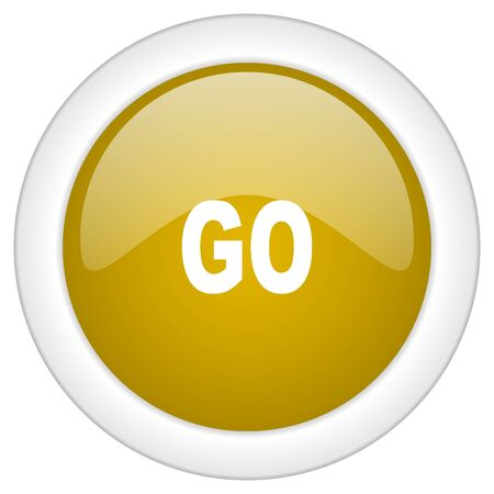 proceed: go icon, golden round glossy button, web and mobile app design illustration Stock Photo