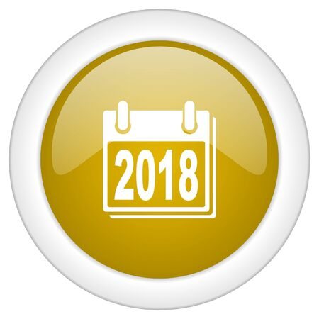 scheduler: new year 2018 icon, golden round glossy button, web and mobile app design illustration