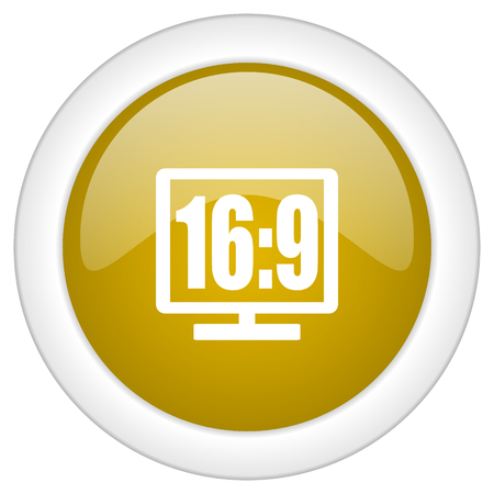 16 9 display: 16 9 display icon, golden round glossy button, web and mobile app design illustration