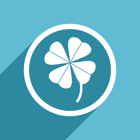 fourleaf: four-leaf clover icon, flat design blue icon, web and mobile app design illustration Stock Photo