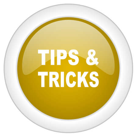 suggestion: tips tricks icon, golden round glossy button, web and mobile app design illustration