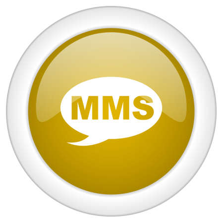mms icon: mms icon, golden round glossy button, web and mobile app design illustration