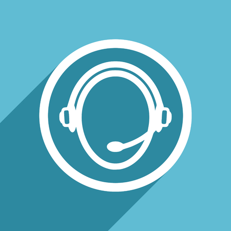 customer service icon: customer service icon, flat design blue icon, web and mobile app design illustration Stock Photo