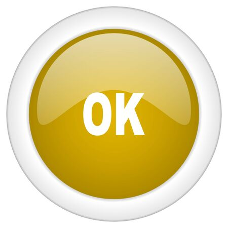 proceed: ok icon, golden round glossy button, web and mobile app design illustration