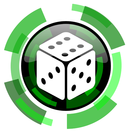 picto: game dice icon, green modern design glossy round button, web and mobile app design illustration
