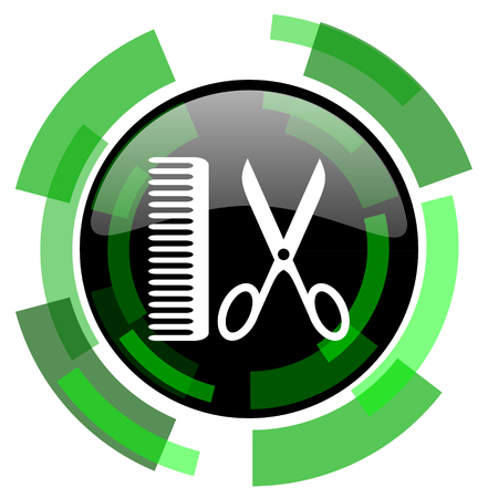 shampooing: barber icon, green modern design glossy round button, web and mobile app design illustration