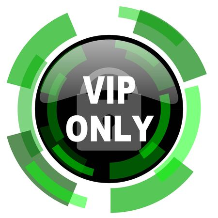 private club: vip only icon, green modern design glossy round button, web and mobile app design illustration Stock Photo