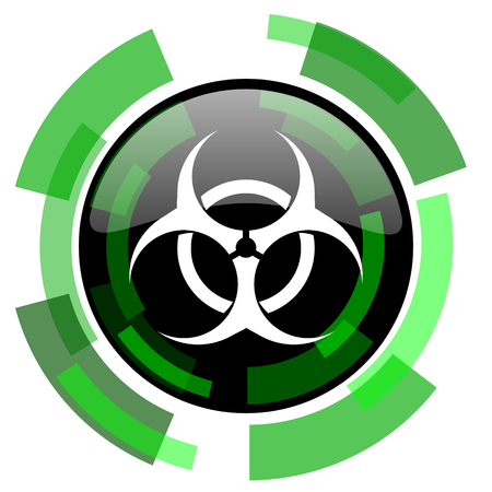 bacterioa: biohazard icon, green modern design glossy round button, web and mobile app design illustration Stock Photo