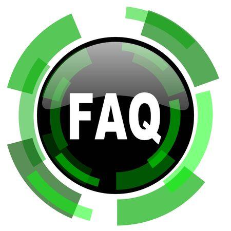 faq icon: faq icon, green modern design glossy round button, web and mobile app design illustration
