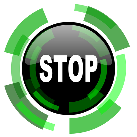 proscribed: stop icon, green modern design glossy round button, web and mobile app design illustration Stock Photo