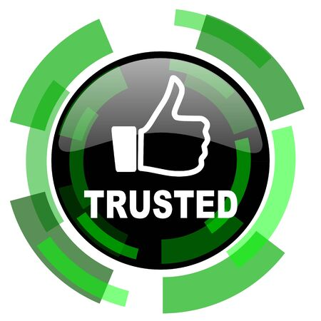 trusted: trusted icon, green modern design glossy round button, web and mobile app design illustration Stock Photo
