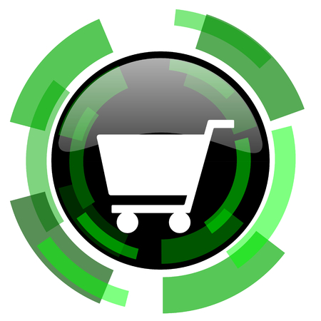 cart icon: cart icon, green modern design glossy round button, web and mobile app design illustration