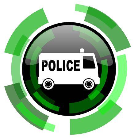 patrolman: police icon, green modern design glossy round button, web and mobile app design illustration Stock Photo