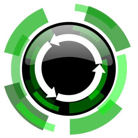 refresh icon: refresh icon, green modern design glossy round button, web and mobile app design illustration Stock Photo