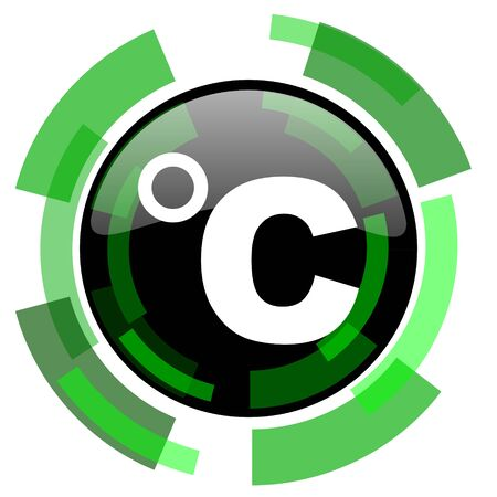 celcius: celsius icon, green modern design glossy round button, web and mobile app design illustration