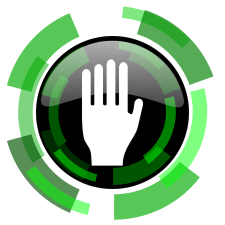 the coachman: stop icon, green modern design glossy round button, web and mobile app design illustration Stock Photo