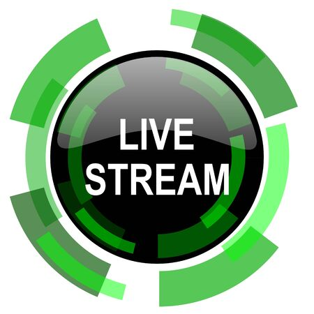 live stream tv: live stream icon, green modern design glossy round button, web and mobile app design illustration Stock Photo