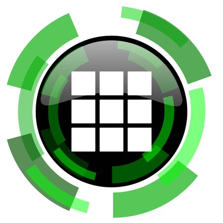 thumbnails: thumbnails grid icon, green modern design glossy round button, web and mobile app design illustration