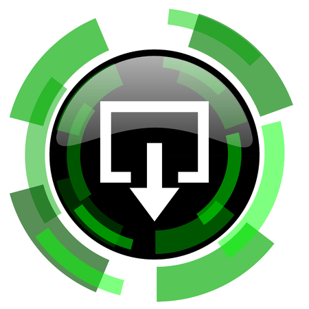 exit icon: exit icon, green modern design glossy round button, web and mobile app design illustration