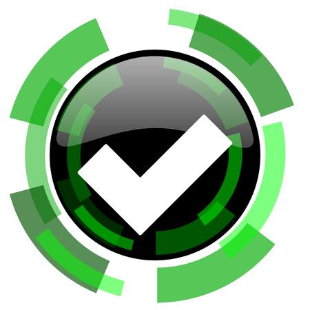 accept icon: accept icon, green modern design glossy round button, web and mobile app design illustration