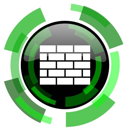 firewall icon: firewall icon, green modern design glossy round button, web and mobile app design illustration