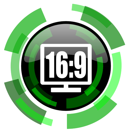 programm: 16:9 display icon, green modern design glossy round button, web and mobile app design illustration Stock Photo