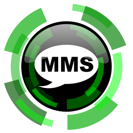 mms icon: mms icon, green modern design glossy round button, web and mobile app design illustration Stock Photo