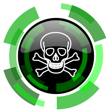 skull icon: skull icon, green modern design glossy round button, web and mobile app design illustration