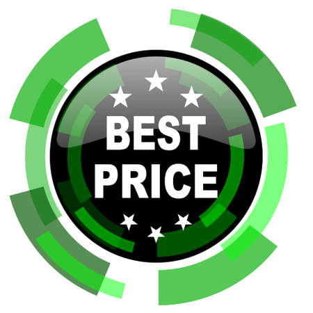 best price icon: best price icon, green modern design glossy round button, web and mobile app design illustration