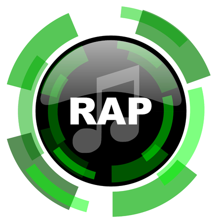 rap music: rap music icon, green modern design glossy round button, web and mobile app design illustration